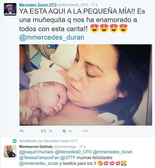 foto de mercedes durán y su recién nacido en twitter